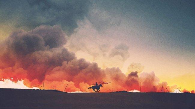 Всадник на лошади с копьем