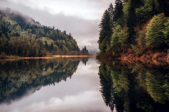 Холмистые лесные берега в отражении реки