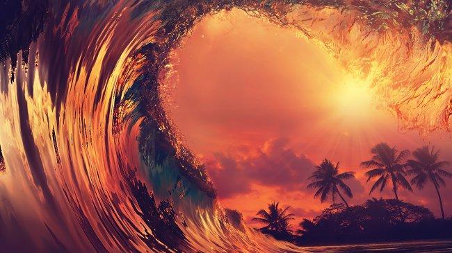 Высокие волны на закате