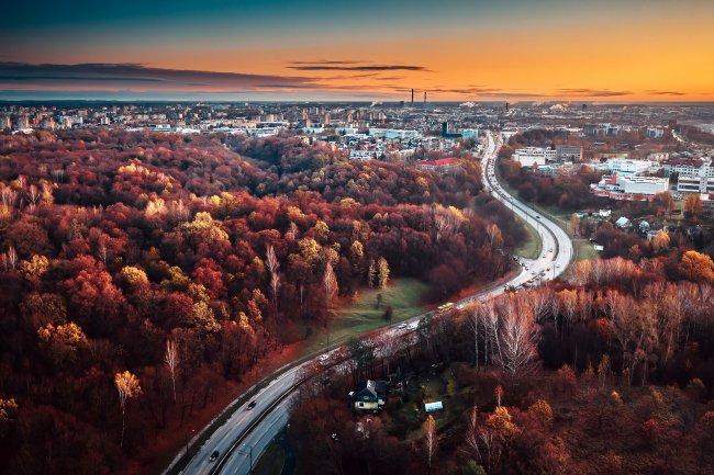 Город Каунас в южно-центральной части Литвы