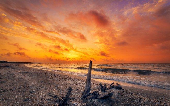 Красивый живой восход солнца на пляже