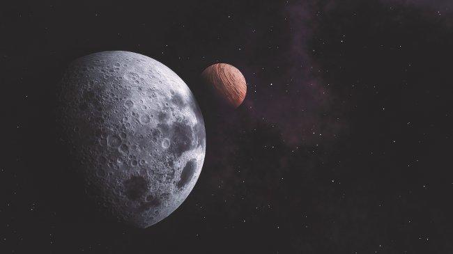 Планеты Луна и Юпитер