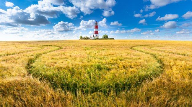 Маяк Westerheversand Lighthouse в Вестерхевер, Германия