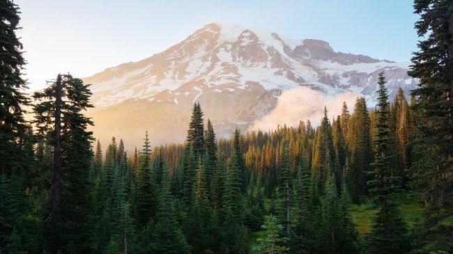 Стратовулкан Рейнир в штате Вашингтон, США