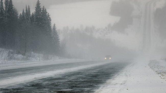 Заснеженная дорога в Пермском крае
