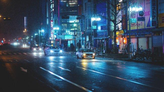 Ночной город Токио, Япония