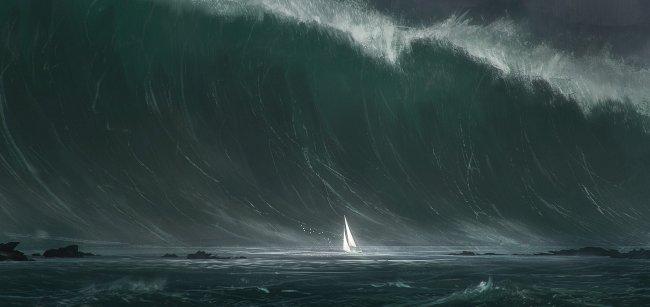 Парусник на фоне гигантской волны