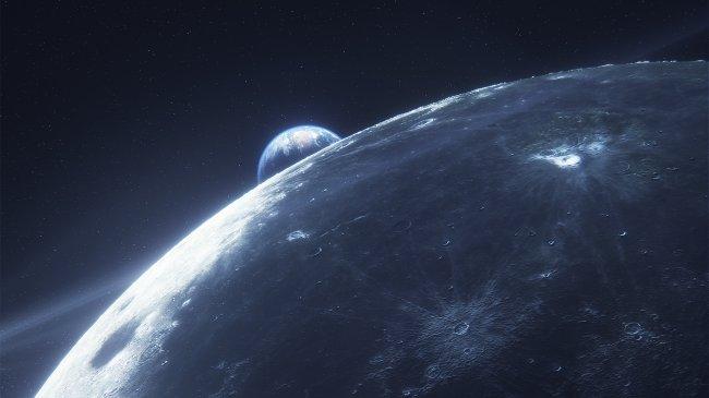 Планета луна на фоне земли