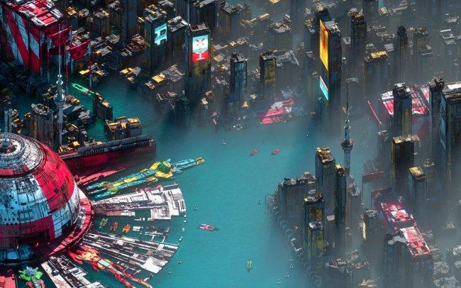 Футуристичный город на воде